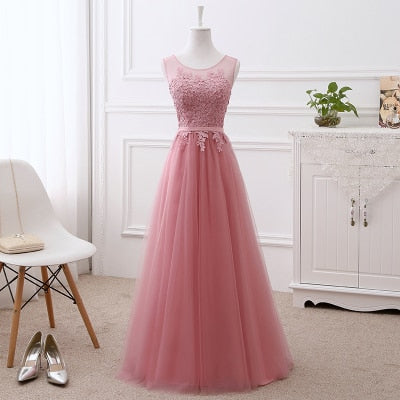 Robe de soiree Pink lace up with Appliques long dress Elegant Evening Dress Formal Bride Wedding Banquet O Neck Prom Party Dress