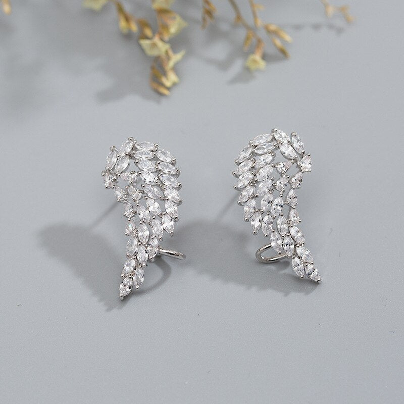 Angel wings Stud Earring diamond 925 Sterling Silver Engagement Wedding Earrings for women Statement Party Jewelry