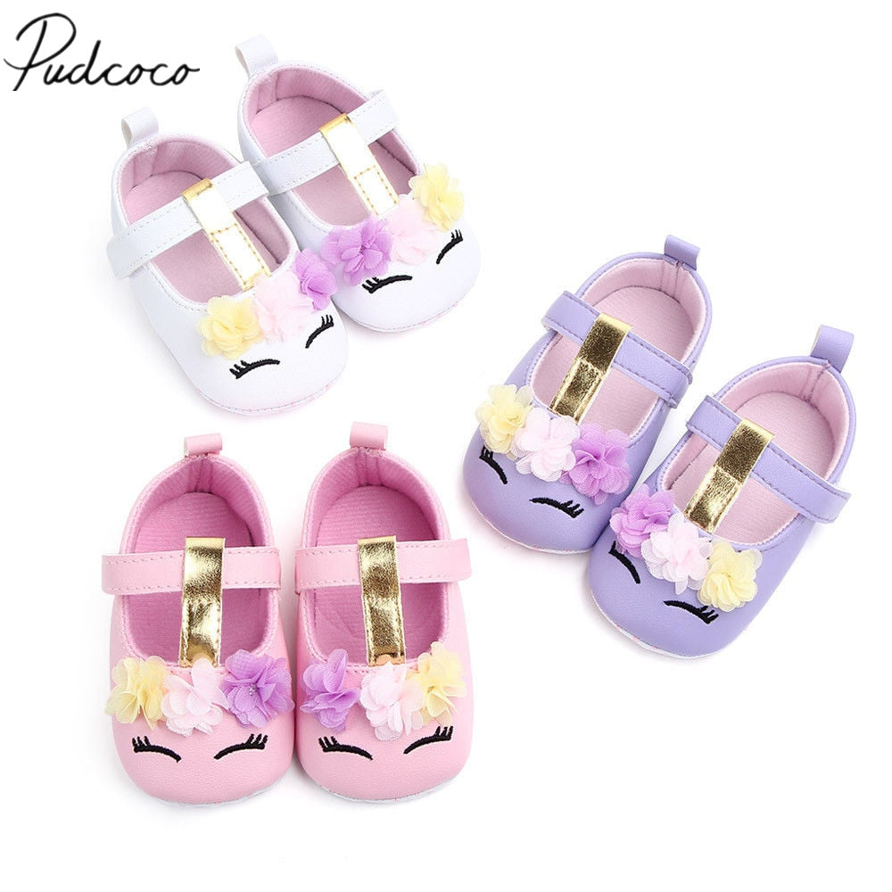 2019 Brand New Toddler Baby Girls Flower Unicorn Shoes PU Leather Shoes Soft Sole Crib Shoes Spring Autumn First walkers 0-18M
