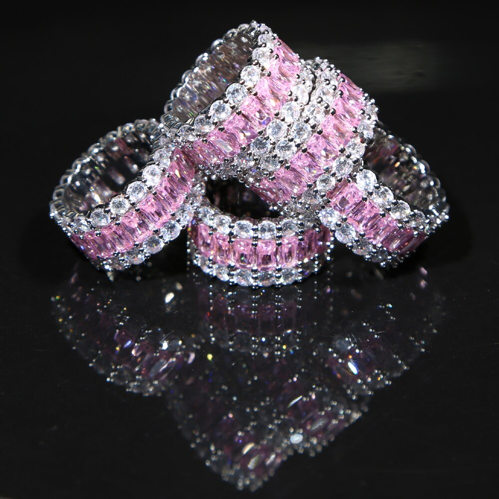2020 New 3 Row Pink White CZ Solitaire Ring For Women Silver Color Iced Out Round CZ Ring Band Classic Hip Hop Jewelry For Gifts