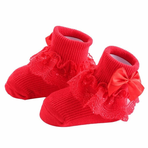 Bow Lace Baby Socks Newborn Cotton Baby Girls Sock Cute Princess Style Toddler Socks  Baby Accessories For Children