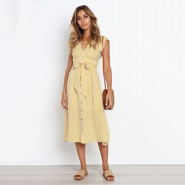 2020 Summer Spring Sexy V-neck Button Striped Dress Women Casual Knee-Length Sleeveless Lace Up Bow A-Line Dress Vestido