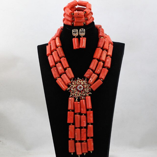 Magnificent Wine Long Coral Beads Jewelry Sets Nigerian African Wedding Bridal Beads Necklace Jewelry Sets Free Shipping CJ806