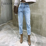 Korean Women's Jeans Streetwear Ladies Slouchy Jeans Denim High Waist Cotton Vintage Pencil Pants 2020 Summer Mom Jeans