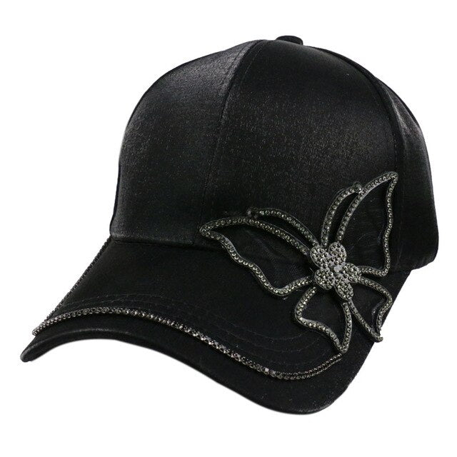 Black Rhinestone Butterfly Baseball Cap Girls women Snapback Hip Hop Sun Hat