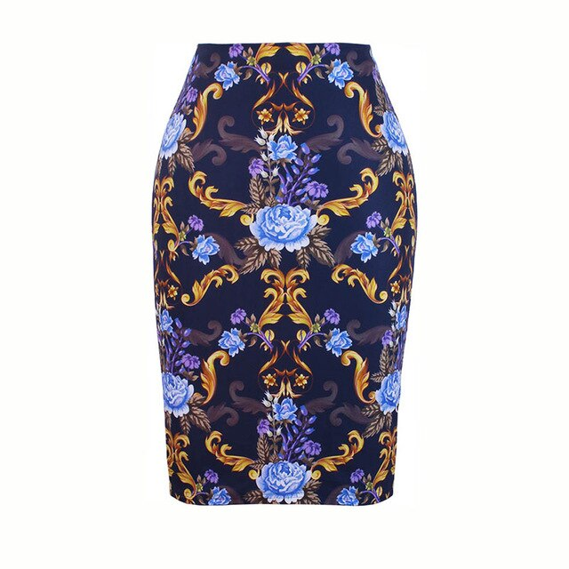 Charming Red Roses print women pencil skirts bodycon lady midi saias female faldas mujer girls slim bottoms S-4XL free shipping