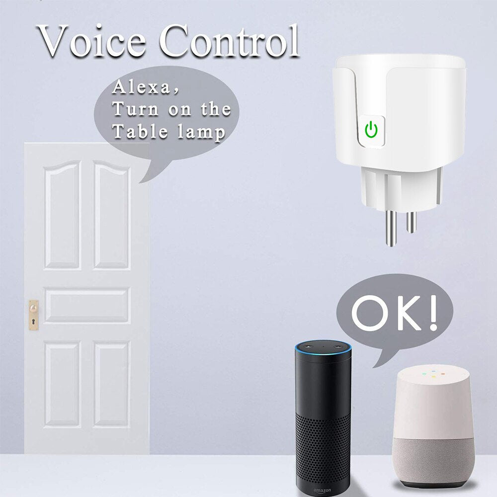 Alexa 10A 16A EU RGB Wifi Smart Plug With Power Monitor, Wifi Wireless Smart Socket Outlet With Google Home Alexa Voice Control