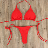 2pcs Sexy Women Summer Swimwear Bikini Set Bra Tie Side G-String Thong Beach Triangle Suit Swimsuit Bathing Suit Swimming Suit