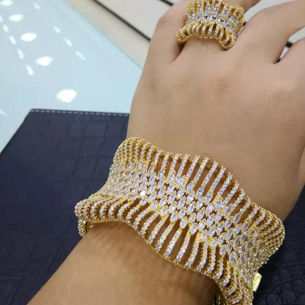 luxury Statement African Gold Bangle Cuff Ring Sets For Women Wedding Cubic Zircon Crystal CZ Dubai Bridal Jewelry Sets