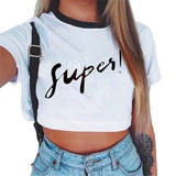 Women's VOGUE Letter Crop Top Short Sleeve T Shirts Women Brand New Casual Tee Tops Summer Female T Shirt Cute Cropped Top