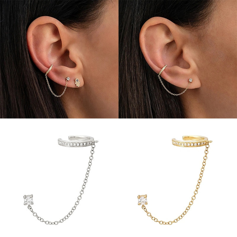 1 pcs Gothic Punk Handcuff chain Earrings real 925 Silver european stud Earrings link chain for Women/Girl A30