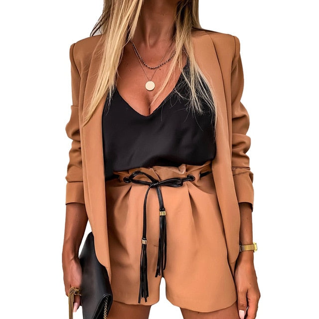 Women Two-Piece Suit Waistcoat And Shorts Set Solid Color Vest Coat Single Button Yellow Sleeveless Blazers With Shorts Suit D30
