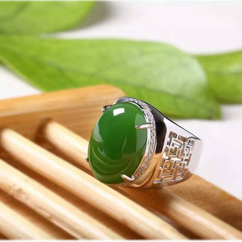 Chinese style green jade man's ring 12*16mm natural jade vintage 925 silver gemstone ring for man Luxurious silver man ring