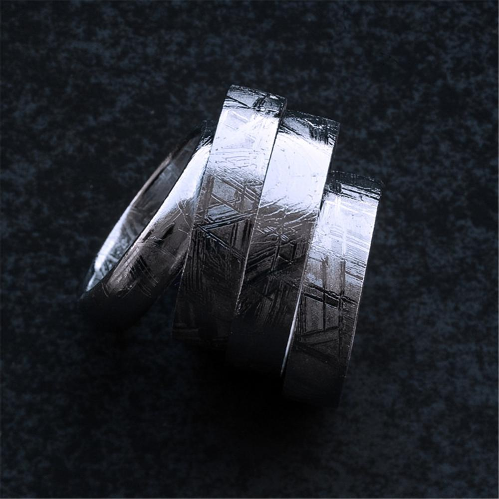 Genuine Natural Gibeon Iron Meteorite Fashion Ring Silver Plated Jewelry Wedding Rings Women Men Size 6 7 8 9 10 11 12 AAAAA