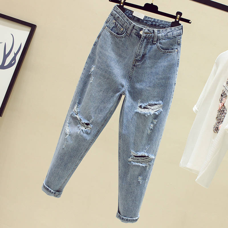 Ff1003 2019 new autumn winter women fashion casual Denim Pants boyfriend hole womens jeans high waisted jeans