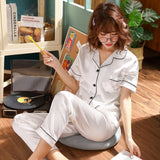 Women Pajama Sets Silk Satin Pijama Turn-down Collar Sleepwear Lady Long Sleeve Spring Nightwear Femme 2 Pieces Sets Homewear