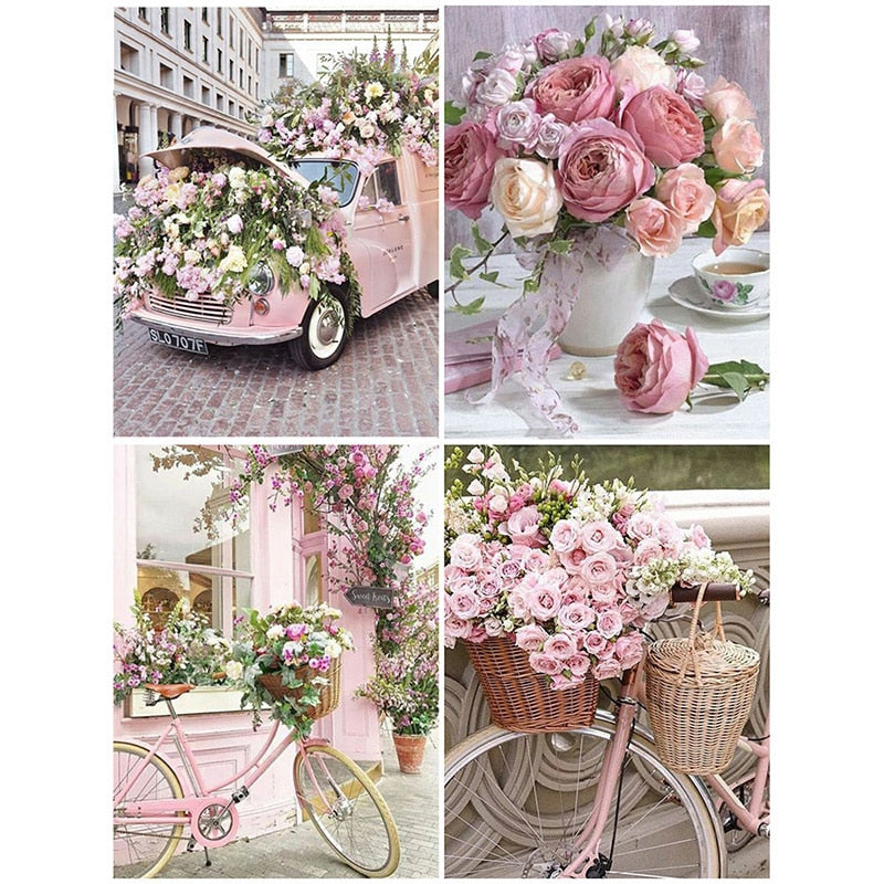 Diamond Painting Full Square Flowers Picture Diamond Embroidery Cross Stitch Kit Diamond Mosaic Landscape Bicycle Sticker
