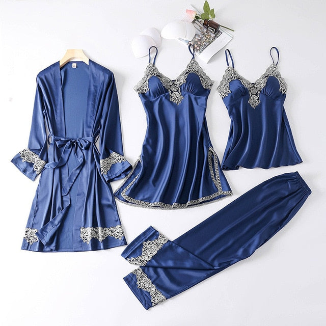 New 4 Pieces Women Pajamas Sets Faux Silk Pajamas Sleepwear Sets Elegant Sexy Lace Fashion Spring Autumn Homewear