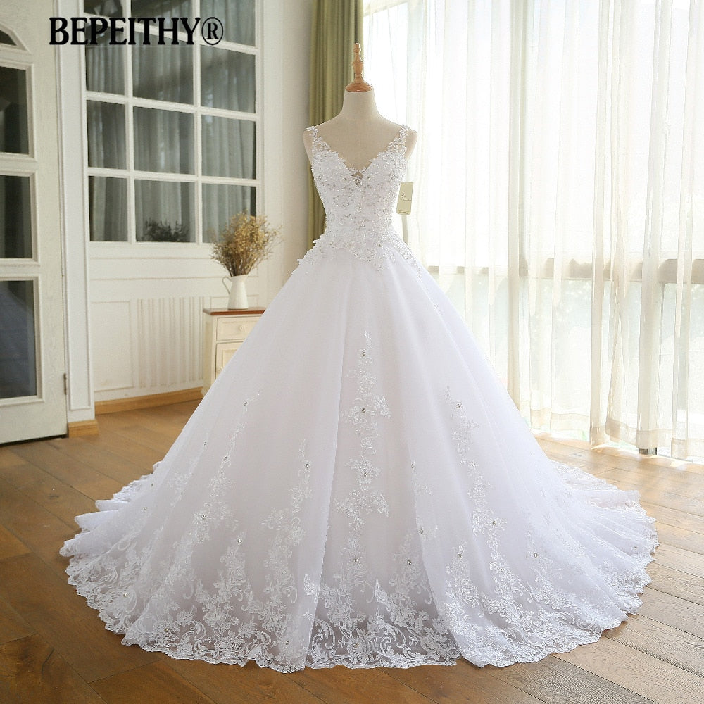 Gorgeous Ball Gown Wedding Dress With Lace Vestido De Novia Princesa Vintage Wedding Dresses Real Image Bridal Gown 2020