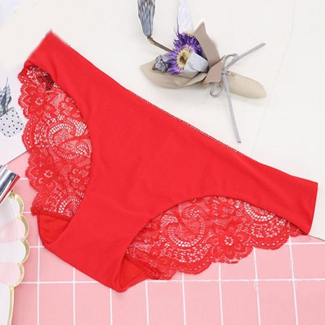 Women's Sexy Lace Panties Seamless Cotton Breathable Panty  Briefs Plus Size Girl Brand Underwear