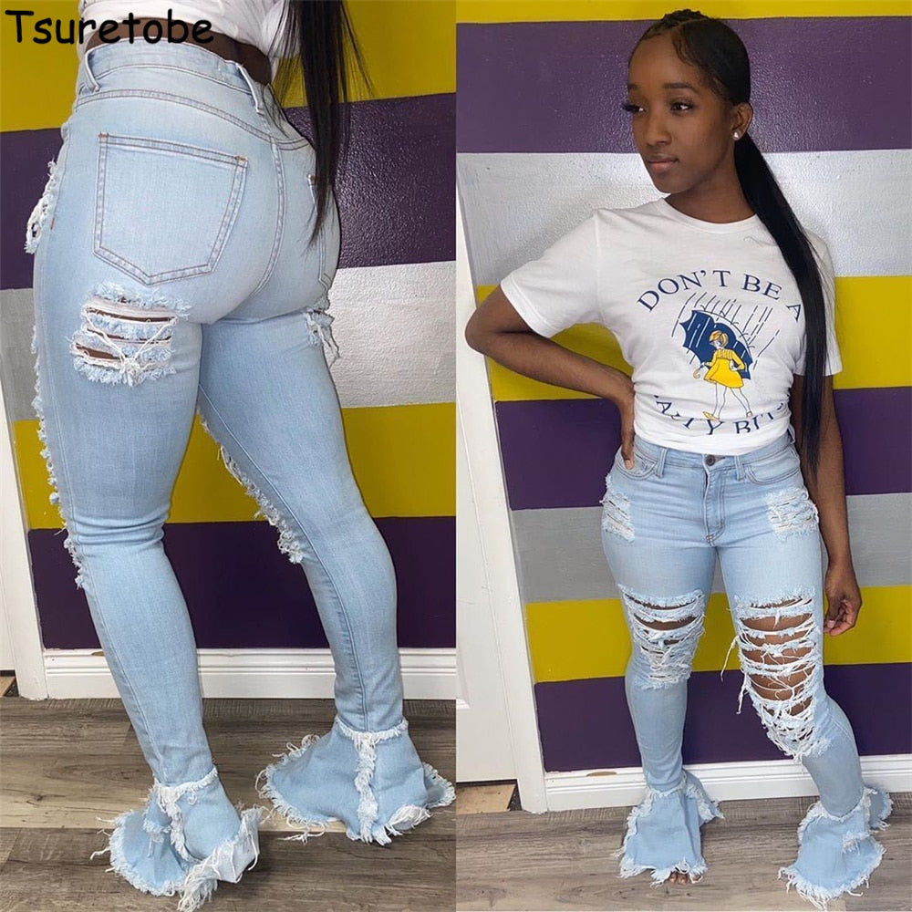 Tsuretobe Ripped Jeans For Women High Waist Jeans Vintage Flare Jeans With Holes Patchwork Bell Bottom Jean Denim Pants Trousers