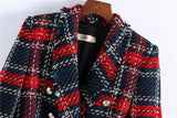 2020 Women Vintage Tweed Red Plaid Blazer Double Breasted Tassel Suit Soft Wool Office Jacket Coat Spring Autumn Lady Outerwear