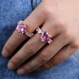 2020 new rose gold pink cz heart ring big heart cut AAAA Cz Engagement wedding band rings For girlfriend women Party Jewelry