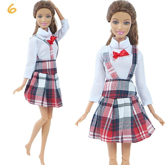 1 Set Fashion Multicolor Outfit Wave Point Dress Shirt Denim Grid Skirt Daily Casual Wear Accessories Clothes for Barbie Doll