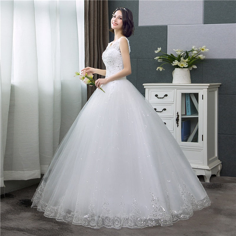 Korean Style V-Neck Lace Tank Sleeveless Floral Print Ball Gown Wedding Dress 2020 New Fashion Simple estidos de noivas CC