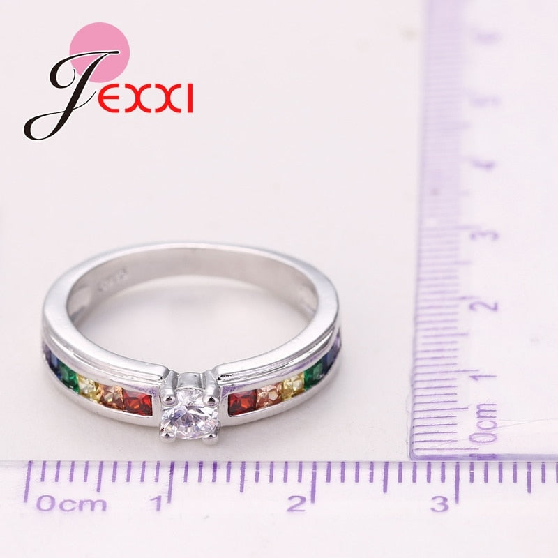 Fashion 925 Sterling Silver Hot Sale Rainbow Engagement Promise Rings For Women High Quality Austrian Rhinestone Jewelry
