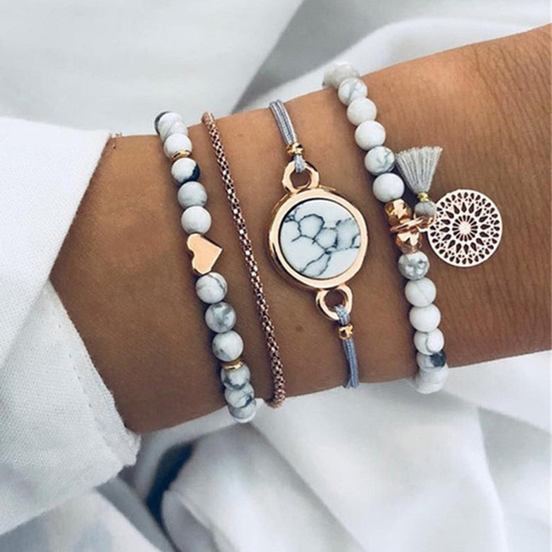 Tocona Bohemian Heart Beads Tassel Layered Bracelet Set for Women Handmade Chains Rope Adjustable Bangle Set Anklet 6905