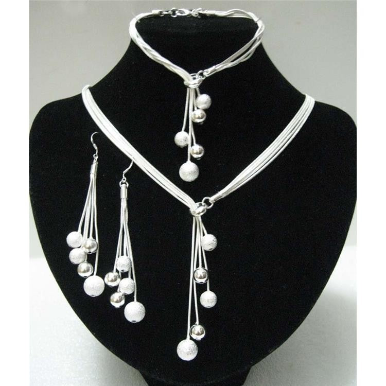 N925 sterling Silver color high-quality five-wire beads new ladies wedding jewelry party gift three-piece AKS0001