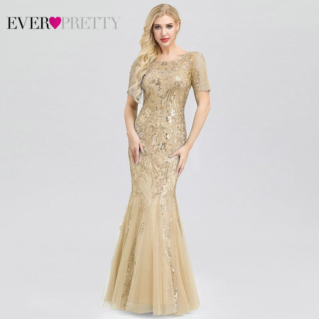 Plus Size Saudi Arabia Prom Dresses 2020 Ever Pretty EZ07707 Short Sleeve Lace Appliques Tulle Mermaid Long Dress Party Gowns