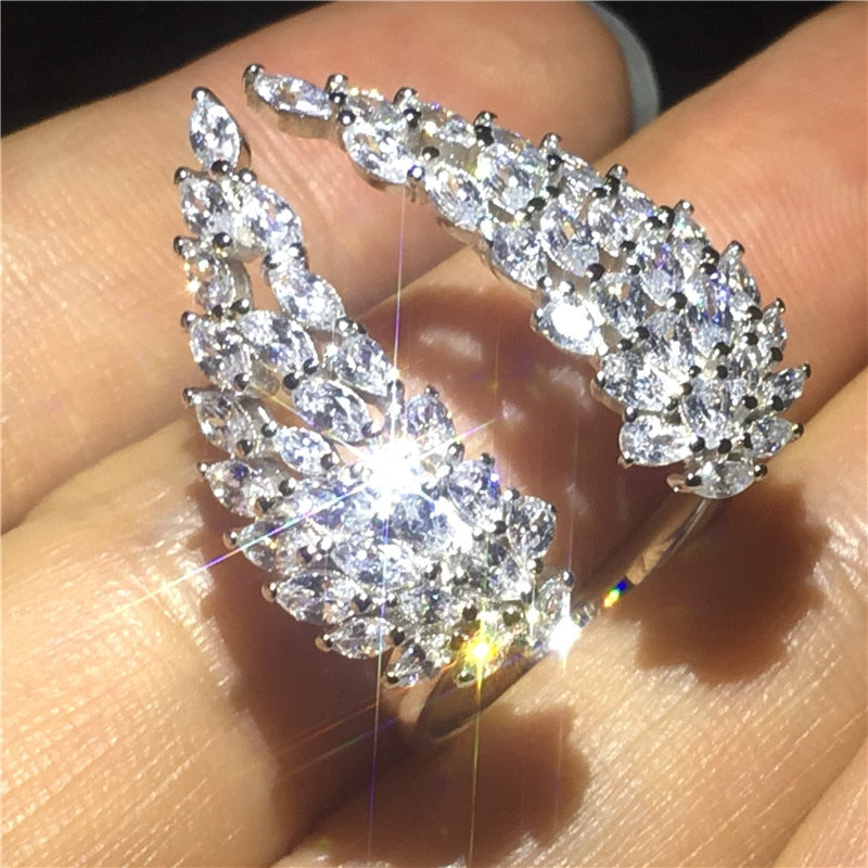 Angel wings Ring Simulated diamond cz Jewelry 925 Sterling Silver Engagement Wedding Band Rings for women Party Jewelry