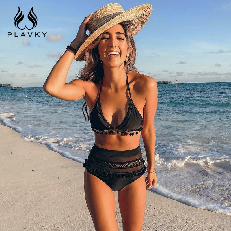 2020 Sexy Halter Retro Mesh Hollow Out String Biquini Bathing Suit Female Swimsuit High Waist Plus Size Swimwear Women Bikini