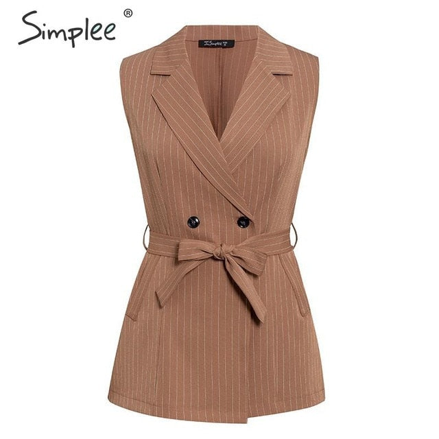 Elegant sleeveless blazer vest suit Striped sash belt female jacket shorts set Double breasted spring summer women sets