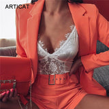 Sexy Office Lady Two Piece Set Women Suit 2020 Summer Autumn Blazer And Pants Jumpsuit Set Casual Suits Outfits