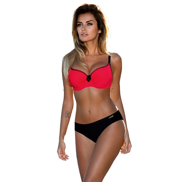 Swimsuit Red Push Up Bikini Set Plus Size Women Swimwear Sexy Padded Adjustable Strap Bordered Bikinis Summer Bathing Suit
