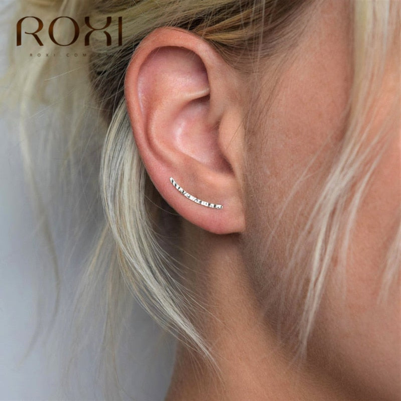 Minimalist 925 Sterling Silver Earrings Ear Crawlers Wedding Jewelry Trendy Geometric Ear Crawlers  Stud Earring Women Gift