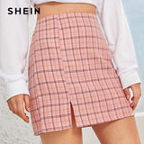 Plaid Side Slit Bodycon Mini Skirt Women Bottoms 2019 Autumn Streetwear Casual A Line Basic Ladies Pencil Skirts
