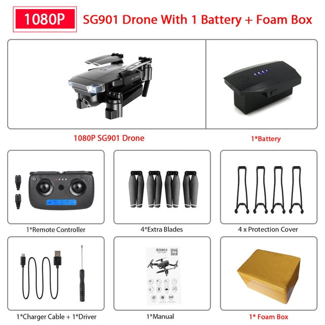 ZWN SG907 SG901 GPS Drone with Wifi FPV 1080P 4K HD Dual Camera Optical Flow RC Quadcopter Follow Me Mini Dron VS SG106 E520S