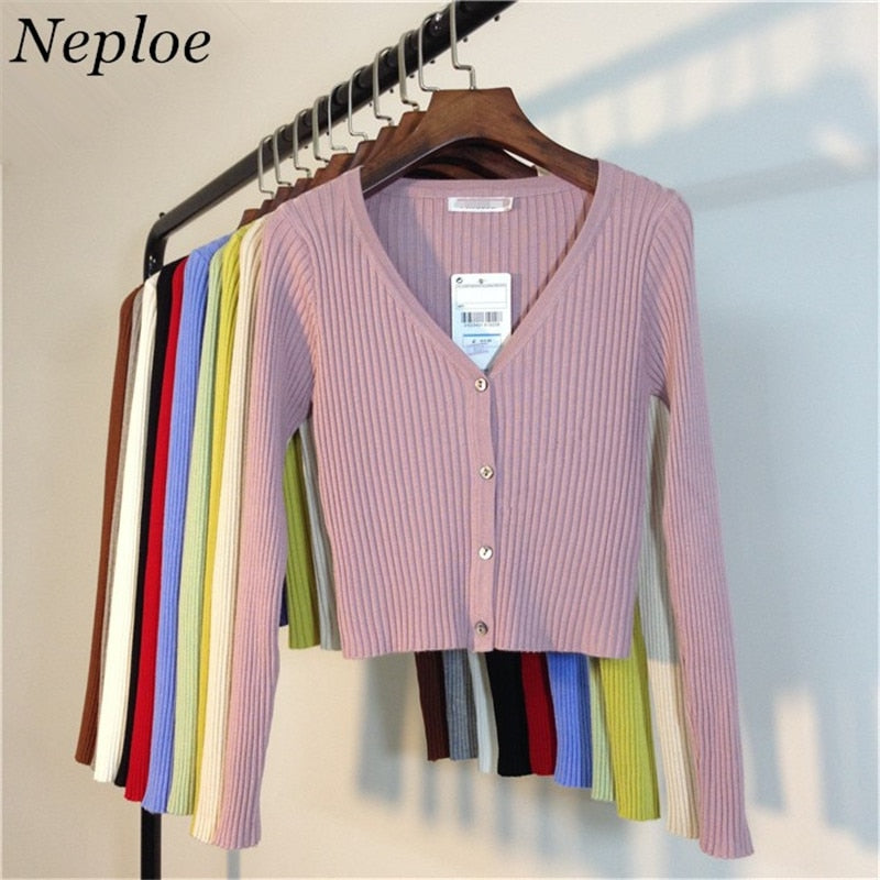 Neploe Spring Newly Patchwork Women Cardigans 2020 Fashion Slim Ladies Knitted Sweater Long Sleeve Buttons Sweater 65057