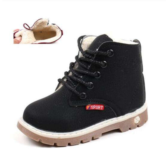 Children Casual Shoes Autumn Winter Martin Boots Boys Shoes Fashion Leather Soft Antislip Girls Boots 21-30 Sport Running Shoes