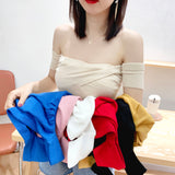 shoulder Sweater Women Sexy Solid Pleated Crop Tops Small Size Highstreet 2020 Summer Tops Sweaters For Women