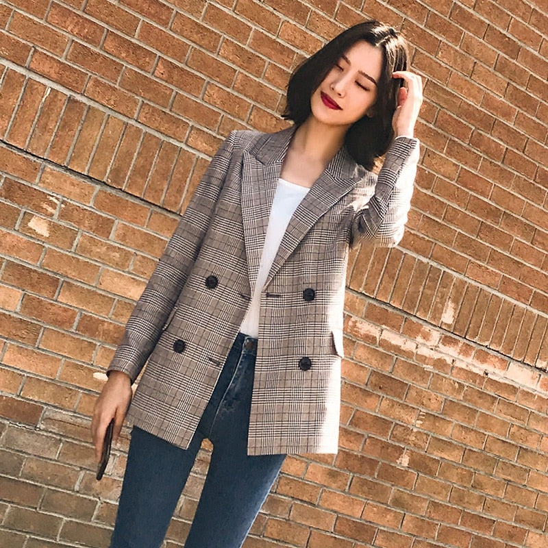 Vintage Double Breasted Plaid Women Blazer Pockets Jackets Female Retro Suits Coat Feminino blazers Outerwear high quality