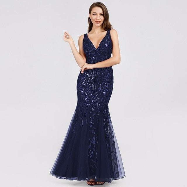 Burgundy Evening Dresses Ever Pretty EP07886 V-Neck Mermaid Sequined Formal Dresses Women Elegant Party Gowns Lange Jurk 2020
