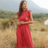 2020 New Summer Dot Print Dress Women Casual Butterfly Sleeve Ruffles Medium Long Chiffon Dress