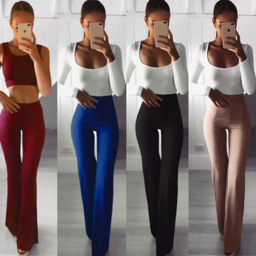 Summer Autumn Solid Elegant Female Lady Women's Palazzo Flared Wide Killer Legs Pants High Waist OL Ladies Career Long Trousers