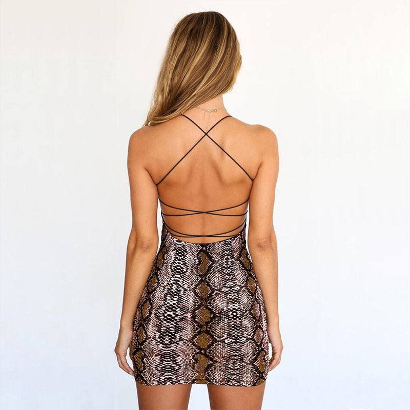 Summer Dress Sexy Cross Bandage Backless Snake Print Dress Women Strap Sleeveless Halter Animal Print Party Club Bodycon Dresses