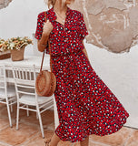 Ladies Bohemian Leopard Print Shirt Dress Women Casual Midi Holiday Summer Dress Female A-line Loose Women Beach Dress Vestidos